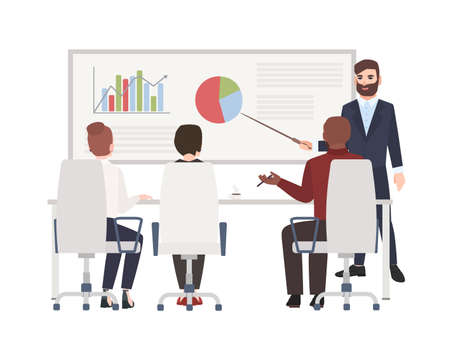 Office workers at whiteboard meeting. Bearded man making presentation in front of audience. Cute cartoon characters isolated on white background. Colored vector illustration in modern flat style Ilustração