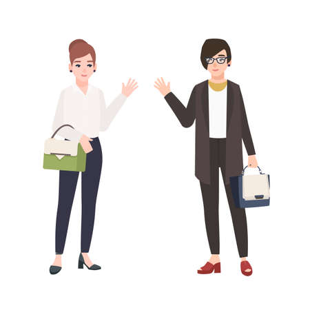 Pair of smiling women dressed in business clothes or female office workers greet each other. Friendly colleagues isolated on white background. Colorful vector illustration in flat cartoon style