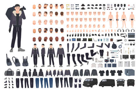 Thief, burglar or criminal creation set or DIY kit. Bundle of flat male cartoon character body parts in different postures, clothing and accessories isolated on white background. Vector illustration