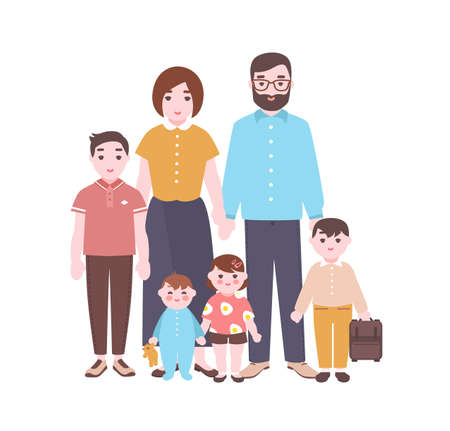 Large happy family portrait. Smiling mother, father, and children standing together. Adorable funny cartoon characters isolated on white background. Colorful vector illustration in flat style