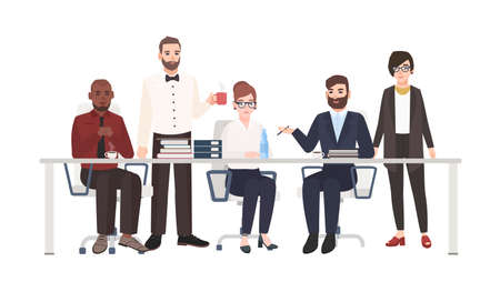 Group of office workers sitting at desk and talking. Male and female clerks taking part in business discussion, work meeting, negotiation. Colorful vector illustration in modern flat cartoon style. Banco de Imagens