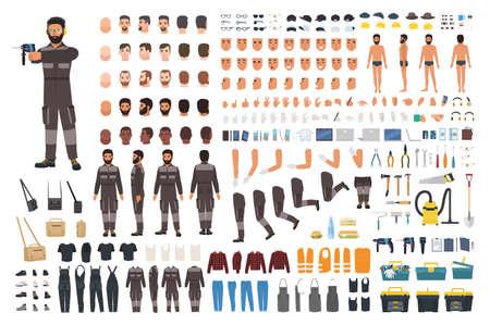 Handwerker- oder Servicetechniker-Erstellungskit. Bündel männlicher Zeichentrickfiguren, Gesichter, Gesten, Kleidung, Arbeitswerkzeuge und Ausrüstung einzeln auf weißem Hintergrund. Flache Vektorillustration Vektorgrafik