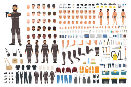 Repairman or serviceman creation kit. Bundle of male cartoon character body details, faces, gestures, clothes, working tools and equipment isolated on white background. Flat vector illustration
