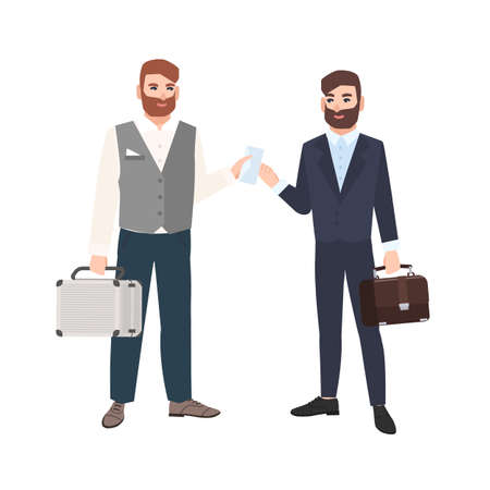 Bearded man passing envelope to his business partner or colleague isolated on white background. Two businessmen making deal. Bribery and corruption. Vector illustration in modern flat cartoon style