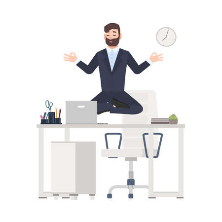 Bearded man or office worker dressed in business suit sitting crossed legs, levitating over its workplace desk and meditating. Tranquility at work. Colorful vector illustration in flat cartoon style
