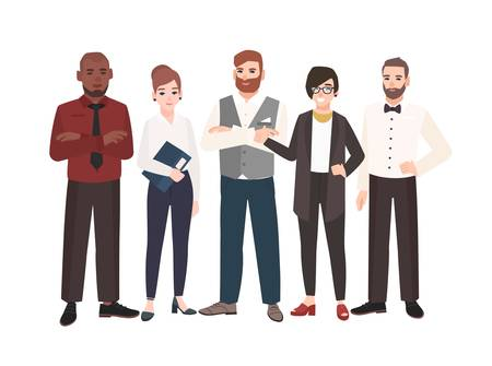 Group of office workers standing together. Team of happy male and female professionals. Funny cartoon characters isolated on white background. Colored vector illustration in modern flat style 스톡 콘텐츠 - 117296140