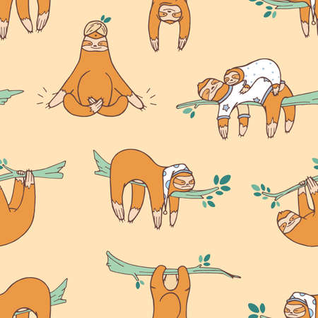 Seamless pattern with cute sloths sleeping, napping, dozing. Backdrop with adorable lazy wild exotic animal. Colored cartoon vector illustration in flat style for wrapping paper, textile print