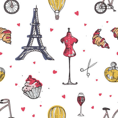 Seamless pattern with Paris and France elements - perfume, french croissant, Eiffel Tower, mannequin, glass of wine hand drawn in doodle style on white background. Elegant vector illustration