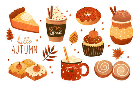 Collection of pumpkin spice seasonal flavored products, food and drinks isolated on white background. Bundle of autumn delicious sweet desserts or pastry. Modern colorful vector illustration Ilustracje wektorowe