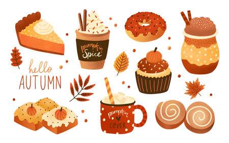 Raccolta di prodotti aromatizzati stagionali della spezia della zucca, cibo e bevande isolati su fondo bianco. Fascio di deliziosi dessert o pasticceria autunnali. Illustrazione vettoriale colorato moderno Vettoriali