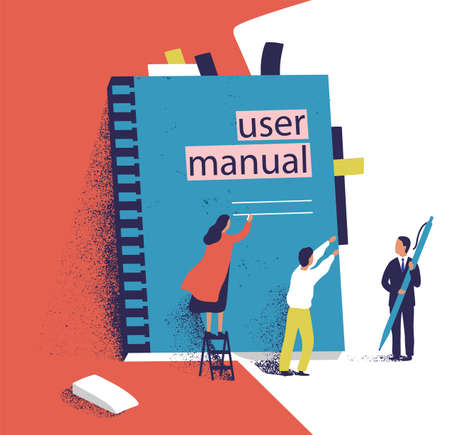 Tiny people or managers trying to open giant user manual. Small men and women and large computer software guide or technical document. Colorful vector illustration in modern flat cartoon style. Vektorgrafik
