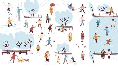Crowd of tiny people dressed in outerwear performing outdoor activities in winter park - building snowman, throwing snowballs, walking dog. Colorful vector illustration in flat cartoon style