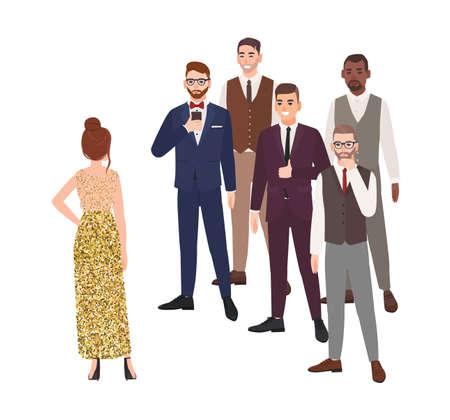 Giovane donna in piedi di fronte a un gruppo di uomini vestiti con abiti eleganti. Concetto di ragazza che sceglie fidanzato o marito. Personaggi dei cartoni animati isolati su sfondo bianco. Illustrazione vettoriale piatta