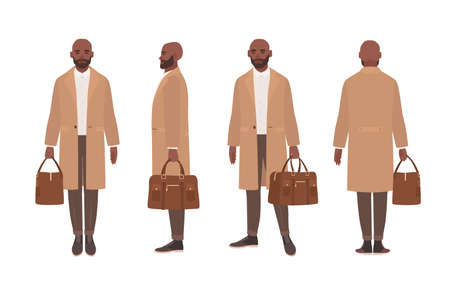 African American bald man dressed in elegant trench coat or outerwear. Male cartoon character isolated on white background. Front, side and back views. Set of outfits. Flat vector illustration