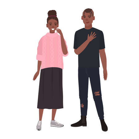 Young romantic African American couple. Smiling boyfriend and girlfriend standing together. Man and woman in love isolated on white background. Colorful vector illustration in flat cartoon style