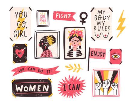 Colección de símbolos del feminismo y el movimiento de positividad corporal. Conjunto de pegatinas de colores con lemas o frases feministas y corporales positivas. Ilustración de vector moderno en estilo de dibujos animados plana.
