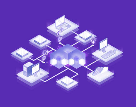 Computers and servers connected into blockchain formation, Bitcoin network. Cryptocurrency service, decentralized and distributed database, innovative technology. Isometric vector illustration