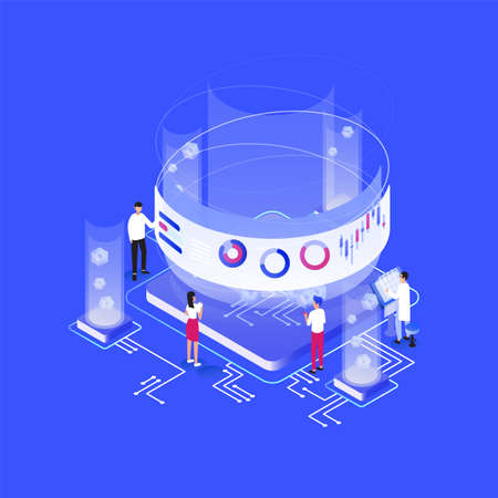 Group of tiny people or analysts standing around giant integral circuit, charts, diagrams, graphs on virtual screen. Data analysis, statistical and business analytics. Isometric vector illustration. Vektoros illusztráció