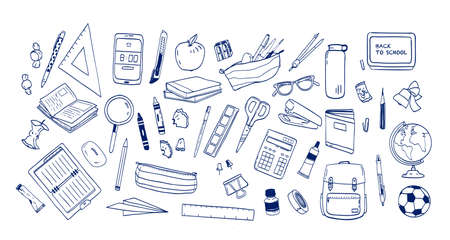 Fascio di materiale scolastico o cancelleria disegnata a mano con linee di contorno su sfondo bianco. Serie di disegni di accessori per lezioni, articoli per l'istruzione. Illustrazione vettoriale monocromatica realistica