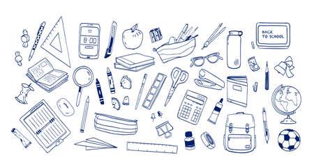 Paquete de útiles escolares o artículos de papelería dibujados a mano con líneas de contorno sobre fondo blanco. Conjunto de dibujos de accesorios para lecciones, artículos para educación. Ilustración de vector realista monocromo