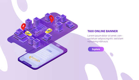 Creative web banner template with mobile phone projecting city map with taxi cabs locator. Colorful isometric vector illustration for smartphone app promo, internet car booking service advertisement Illustration