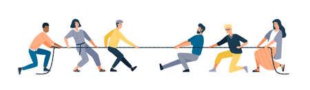 Twee groepen mensen trekken tegenovergestelde uiteinden van touw geïsoleerd op een witte achtergrond. Touwtrekwedstrijd tussen kantoorpersoneel. Concept van zakelijke concurrentie. Vectorillustratie in platte cartoonstijl Vector Illustratie
