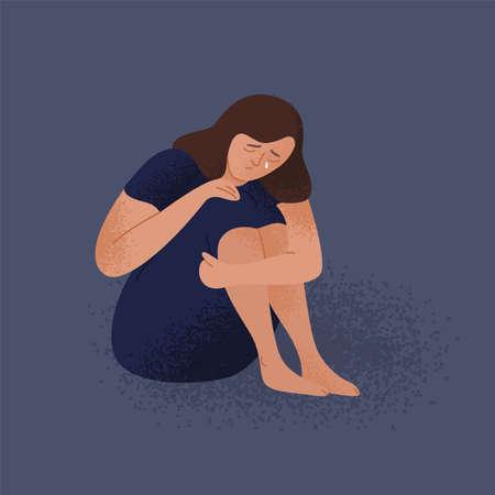 Giovane donna sola piangente triste che si siede sul pavimento. Ragazza infelice depressa. Personaggio femminile in depressione, dolore, tristezza. Disturbo mentale o malattia. Illustrazione vettoriale colorato in stile cartone animato piatto