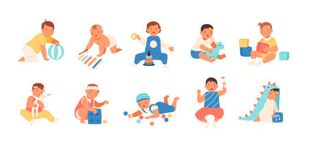 Collection of happy adorable babies playing with various toys - building kit, ball, rattle. Set of playful infant children isolated on white background. Flat cartoon colorful vector illustration