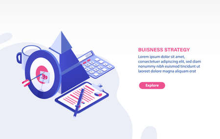 Web banner template with target and arrow, document, calculator and place for text. Business planning, strategy for project goal achievement, strategic development. Isometric vector illustration