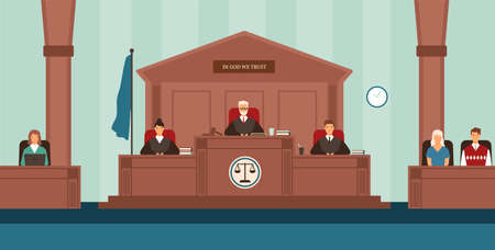 Courtroom with panel of judges sitting behind desk or bench, secretary, witnesses. Court or tribunal resolving dispute. Trial or legal proceeding. Colorful vector illustration in flat cartoon style. Stock Photo