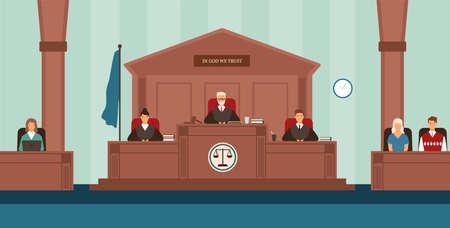 Salle d'audience avec panel de juges assis derrière un bureau ou un banc, secrétaire, témoins. Cour ou tribunal réglant les différends. Procès ou procédure judiciaire. Illustration vectorielle coloré dans un style cartoon plat