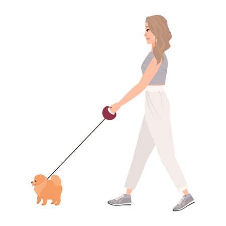 Smiling young woman dressed in casual clothing walking dog on leash. Pretty girl performing outdoor activity with her pet or domestic animal. Colorful vector illustration in flat cartoon style