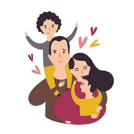 Portrait of happy loving family. Smiling dad, mom, and two sons. Joyful father, mother and pair of kids. Parents and children. Adorable cartoon characters. Colorful vector illustration in flat style.