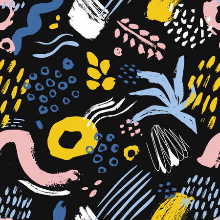 Artistic seamless pattern with colorful paint stains, marks, traces, drops on black background. Creative vector illustration in modern art style for wrapping paper, wallpaper, fabric print, backdrop