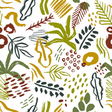Seamless pattern with abstract tropical leaves, paint stains, brush strokes on white background. Natural vector illustration in contemporary art style for wrapping paper, wallpaper, textile print