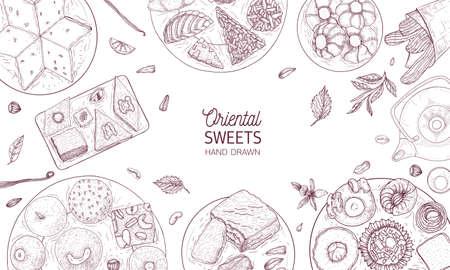 Monochroom sjabloon voor spandoek met oosterse snoepjes liggend op platen getekend met contourlijnen op witte achtergrond, bovenaanzicht. Traditionele desserts, smakelijke zoetwaren. Realistische vectorillustratie Vector Illustratie