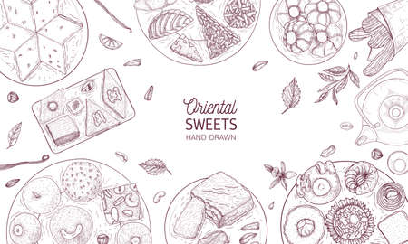 Monochrome banner template with oriental sweets lying on plates drawn with contour lines on white background, top view. Traditional desserts, tasty confectionery. Realistic vector illustration