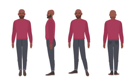 Bald bearded African American man wearing glasses and jumper. Funny male cartoon character isolated on white background. Front, side and back views. Colorful vector illustration in flat style