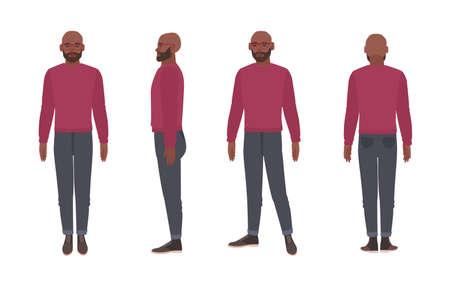 Homme afro-américain barbu chauve portant des lunettes et un pull. Personnage de dessin animé masculin drôle isolé sur fond blanc. Vues de face, de côté et de dos. Illustration vectorielle coloré dans un style plat