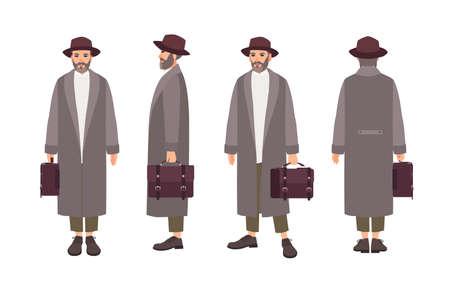 Hombre barbudo vestido con elegante abrigo, sombrero y maletín. Personaje de dibujos animados masculino divertido aislado sobre fondo blanco. Vistas frontal, lateral y trasera. Ilustración de vector colorido en estilo plano