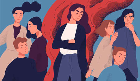 Angry young woman among people not willing to talk to her. Concept of communication problem with unpleasant arrogant annoying selfish person. Colorful vector illustration in flat cartoon style