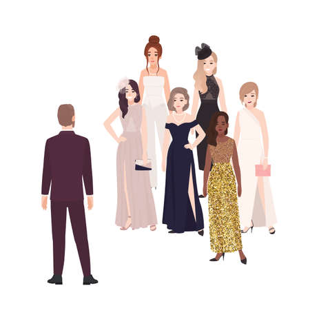 Male character standing in front of group of happy beautiful women dressed in elegant evening clothing. Popular man or bachelor choosing girlfriend or wife. Vector illustration in flat cartoon style Ilustração