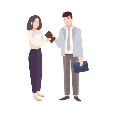 Smiling man giving notepad to woman. Pair of office workers, managers, colleagues or business partners isolated on white background. Colorful vector illustration in modern flat cartoon style. Foto de archivo