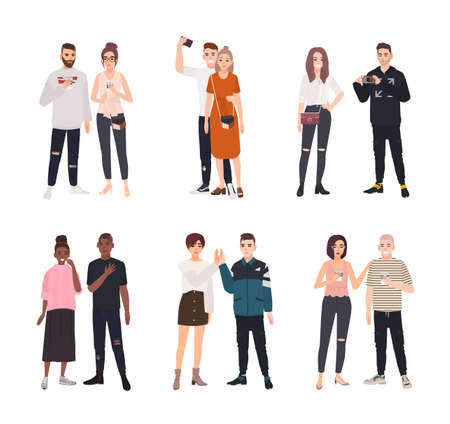 Collection of cute romantic couples spending time together. Set of happy men and women in love isolated on white background. Bundle of boys and girls on date. Flat cartoon colored vector illustration