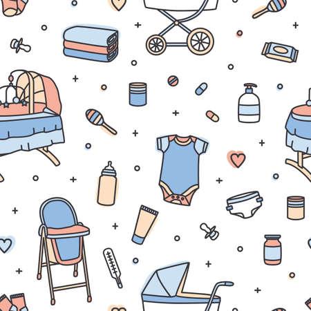 Nahtloses Muster mit Säuglingspflegeprodukten, Kindergartenbedarf, Spielzeug. Hintergrund mit Werkzeugen für Neugeborene auf weißem Hintergrund. Bunte Vektorillustration im Strichkunststil für Geschenkpapier Vektorgrafik