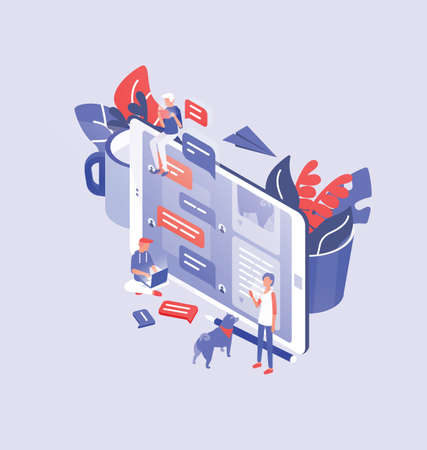 Giant smartphone, tiny men and women around it and place for text. Internet communication, online instant messaging, messengers and social networks. Modern colorful isometric vector illustration. Illustration