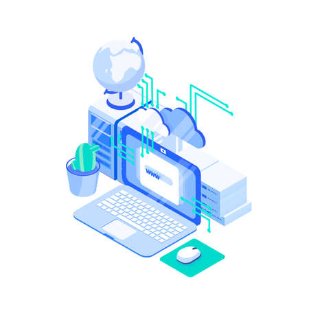 Laptop computer, stack of servers and globe. Web or internet hosting technology, online website support service, cloud computing and storage. Creative colorful isometric vector illustration