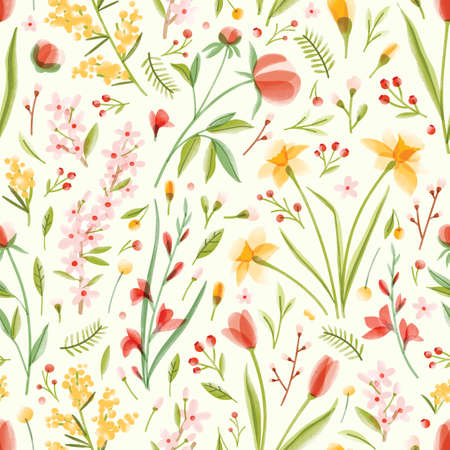 Natural seamless pattern with translucent blooming spring garden flowers on light background. Modern colorful floral vector illustration for wrapping paper, wallpaper, textile print, backdrop.