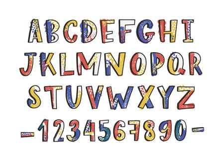 Moderne lateinische Schrift oder englisches Alphabet Hand auf weißem Hintergrund gezeichnet. Strukturierte Buchstaben in alphabetischer Reihenfolge und Zahlen oder Ziffern mit Flecken und Schlieren verziert. Vektor-Illustration.