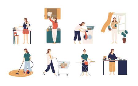 Raccolta di scene con donna o casalinga che fa i lavori domestici: lavare i piatti, stirare i vestiti, pulire le finestre, cucinare, dare da mangiare al bambino, fare shopping. Illustrazione vettoriale colorato in stile cartone animato piatto.